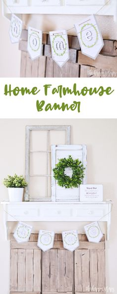 Create this beautiful Home Farmhouse Banner with a few supplies and simple tutorial. It's the perfect addition to nearly any space in your farmhouse. Wall Banner, Diy Banner, Pennant Banners, Hobby Lobby Cardstock, Handmade Crafts, Diy Crafts, Halloween Decorations, Christmas Decorations, How To Make Banners