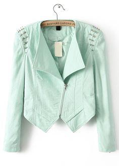 Green Long Sleeve Rivet Slim Crop Jacket