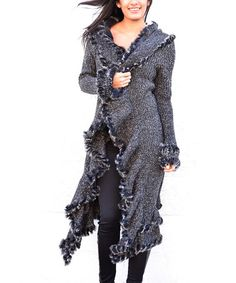Another great find on #zulily! Black & Gray Faux Fur Wool-Blend Duster by Simply Couture #zulilyfinds