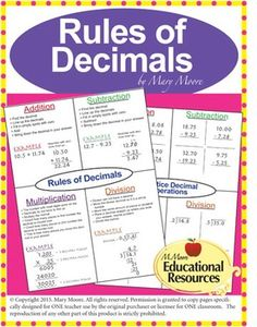 Completely Free - Rules of Decimals Complete Lesson Freebie with classwork, quiz and more!  An Excellent Teaching Resource.  Perfect for interactive notebooks/journals, stations, & more!A Free Sample of my work on Adding, Subtracting, Multiplying, and Dividing Decimals.