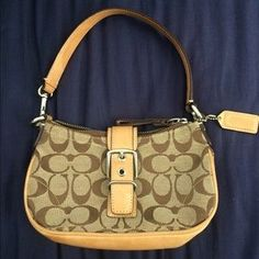 I just discovered this while shopping on Poshmark: Brown and Tan Authentic Coach Bag/clutch. Check it out!  Size: OS