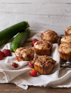 Strawberry Zucchini Muffins. Summer is right around the corner | Betsylife.com