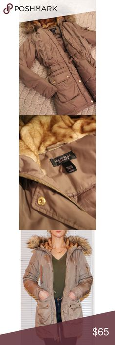 Victoria's Secret Coat Removable fur on the hood. Gold accents. Adjustable waist. Lightly warn - like new Victoria's Secret Jackets & Coats Puffers