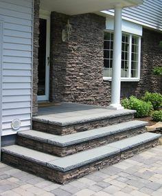 Superb Veneer For House Fascia, Bluestone Stoop With Rockfaced Treads.