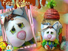Coelho vidro + enfeite de páscoa + coelho de páscoa