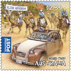Road Trip Australia - new #stamps Australians and the road trip go hand in hand. On this large island continent, where long strips of bitumen connect towns and cities, a road trip is not only a rite of passage but a necessity. It has also become a familiar experience for many Australians on their overseas odysseys. This stamp represents the outback town of Alice Springs, home to not only the quirky annual Camel Cup but a notable centre for Aboriginal art and culture http://auspo.st/QjRJ3d