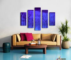 Polyptych, 5 split, stretched, canvas, multi panel, prints, , painting, forest,scene,woods,landscape,nature,trees,winter,night,nocturnal,sky,forestscape,nightscape,moonlight,stars,vision,tranquil,peaceful,serene,moody,nostalgic,romantic,poetic,melancholic,purple,lavender,blue,shades,vivid,colors,monochromatic,decor,beautiful,unique,fantasylike,cool,realism,realistic,of,in,at,a,by,the,fine,art,oil,images,artworks,decor,artistic,items,products,for sale,pictorem,autumn forest