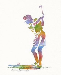 Unique Golf Painting, Golfer Art Print, Woman Golfer Watercolor Painting by Barbara Rosenzweig. To Buy Now Click Pic.