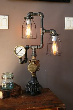 steampunk gear lamp light industrial art machine age salvage steam gauge