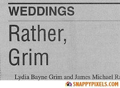 Funny Wedding Announcements in the Newspaper - Snappy Pixels Name Games, Funny Names, Wedding Announcements, Wedding Humor, Puns, Newspaper, Funny Pictures, Hilarious, Marriage