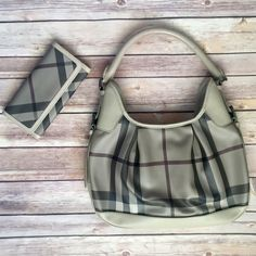 FLASH SALE - Smoked Check Burberry Bundle Should bag with zip closure. Matching wallet. Only carried a handful of times - small flaws as pictures. Dust bags included. Burberry Bags Shoulder Bags