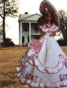 Crochet Fashion Doll Barbie Pattern 148 THE by JudysDollPatterns Crochet Doll Dress, Crochet Barbie Clothes, Knitted Dolls, Beau Crochet, Crochet Mignon, Barbie Gowns, Barbie Dress, Barbie Doll, Barbie Style