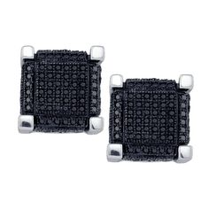 10kt White Gold Womens Round Black Colored Diamond 3D Square Cube Cluster Earrings 1-1/8 Cttw