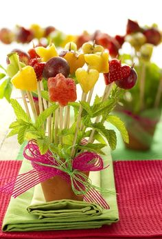 Fruit on a stick with mint leaves~Cute party idea