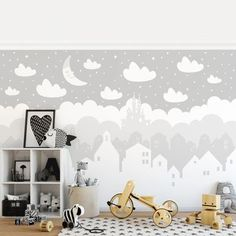 Carta da parati Premium - Starry Sky With Houses And Moon In Gray Baby Wall Decor, White Wall Decor, Baby Wallpaper, Home Wallpaper, Baby Tapeten, Boy Room, Kids Room, Artist Wall, High Quality Wallpapers