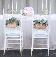 Bride & Groom Wooden Chair Signs by LHCalligraphy Photo by Natalie Franke