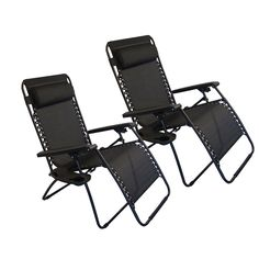 2 Folding Zero Gravity Reclining Lounge Chairs+Utility Tray Outdoor Beach Patio #gravitychair2 for $50 this week only #ebaydailydeals #ebay
