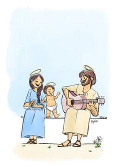 Catholic Art, Religious Art, Jesus Art, Jesus Christ, Jesus Cartoon, Christian Artwork, Mama Mary, Mary And Jesus, King Jesus