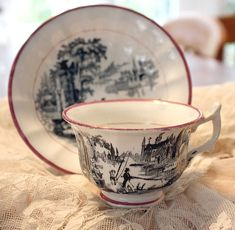 Antique Luster Lusterware Toile Teacup Saucer Set