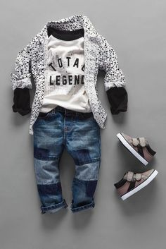 """""""Total Legend""""   Toddler fashion   Boys' clothes   Graphic top   Patch jeans   Printed button-down shirt   Sneakers   The Children's Place"""