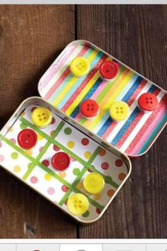 Great little travel game.. Decorate an old can of altoids...hot glue buttons to magnets