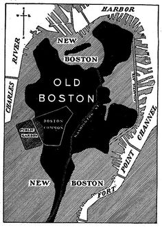 """old and new Boston  The black area is original land and the grey represents areas filled in. Boston doubled in size from """"made land"""""""