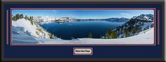 Crater Lake National Park Skyline Panoramic Comes With 1 1/2 Inch Black Leather Frame-D/Matted W/Small Plaque Art Print - Large Framed Picture - Awesome and Beautiful! This Is a Must for Any Home or Office Decor!