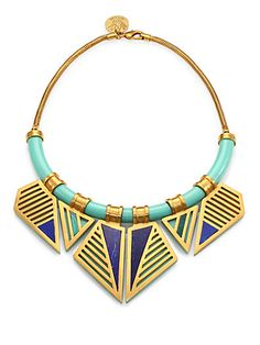 Finish off your stylish look in this tribal-inspired necklace, finished with vibrant malachite and lapis accents. #littlesalebirdy
