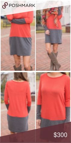 """🆕 ORANGE /GREY COLOR BLOCK LONG TOP """"Pop"""" with a little color! This top/ tunic/ dress gives you a grey base with color to brighten your face. Add great accessories: Scarves. Jewelry. Boots. Leather jacket. Leggings and Jeans -You're ready! A great piece as the seasons change. Round neck. Bust 37"""" Length 33"""" Arm L 24.5"""". Cotton blend. -No trades 51twenty Tops"""