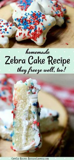This Little Debbie copycat Zebra Cake recipe is so easy & addictively good.The little homemade snack cakes are perfect for school lunches & they freeze well Best Cookie Recipes, Cupcake Recipes, Baking Recipes, Cupcake Cakes, Dessert Recipes, Dessert Salads, Candy Recipes, Baking Ideas, Dessert Ideas