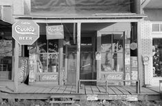 "Small town Store front in 1938, Arkansas, Americana decor, vintage ADs, 24""x16"""