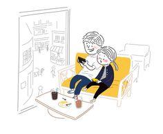 카페에서 휴대폰으로 같이 온라인 게임하기!