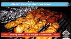 Marry someone that can braai, beauty fades. but hunger lasts forever! Tandoori Chicken, Chicken Wings, Meat, Canning, Ethnic Recipes, Funny, Food, Humor, Essen