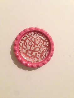 4 Bottle Cap Magnets - Pink Ribbon Breast Cancer Awareness on Etsy, $6.50