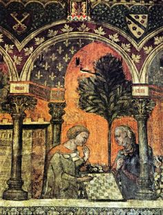 The Dame of Verzù playing chess with a Knight. Medieval Games, Medieval Life, Medieval Art, History Of Chess, Art History, Middle Ages History, Classical Antiquity, Medieval Manuscript, Board Games