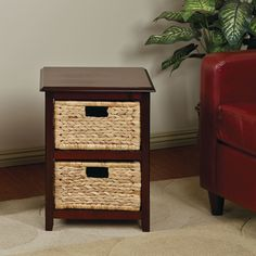 Combine multi-functional storage space with down-home comfort with this unit from Office Star Products. Espresso finished wood with straw grass woven drawers make this piece uniquely quaint and refined.