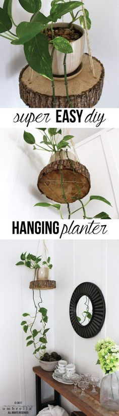 Do you have pets or small children? Do you find that it's difficult keeping your plants alive in your home? My solution? Try this DIY Hanging Planter! Hanging Planters Easy DIY Hanging Planter Using a Wood Slice and Rope Diy Garden, Garden Projects, Wood Projects, Projects To Try, Woodworking Projects, Succulents Garden, Design Projects, Diy Simple, Easy Diy