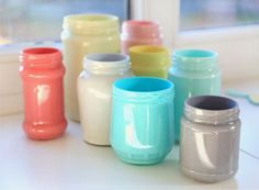 I'm digging up my pretty glass jars to fill with color this week - a simple way to make storage pretty.  Perfect for make up brushes, pens + dried flowers we collect on walks.    Click the image for a blog link - you can visit me at www.happykatie.com too.