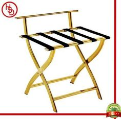 HOUSED-豪仕达,酒店用品/hotel articles # J-13B luggage rack # 整体:201#镜金;横条:5条尼龙织带 / 201# stainless steel with titanium gold plated(mirror finished) with 5pcs black nylon band # size:  60*47*66CM