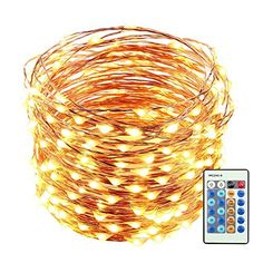 LUCKLED 66ft 200 LED Christmas Starry String Lights Dimmable with Remote, Waterproof Decorative Copper Wire Lights Lighting for Home, Garden, Bedroom, Patio, Wedding and Party Decorations (Warm White) - Bright and Warm Lights 2800-3000K warm white mini Led Lights twinkle like stars at night, bringing you serenity, comfort and relaxation Flexible Shape of Your Choice Apply for premium thin and flexible copper wire, can be easily bend to shape around plants, signs, furniture and almost…