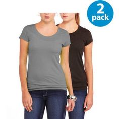 Plus Size No Boundaries Juniors Plus Short Sleeve Tee 2 Pack, Size: 1XL, Black