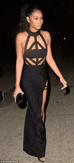 Model Chanel Iman showed a lot of skin in her daring slashed-to-the-thigh number...