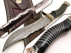 Custom Handmade Damascus Steel Hunting Bowie Knives Overall Length is 15 Inches Handle Made Of Natural Bone And Brass Guard With Brass Spacers Beautiful File Work And Fishing on Handle Razor Sharp Blade And Holds an great Edge Comes With Leather Sheath Knife Making Tools, Trench Knife, Knife Stand, Tactical Pocket Knife, Engraved Pocket Knives, Hard Metal, Best Pocket Knife, Knife Sharpening, Custom Knives