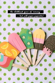 Diy ice lolly memory game.