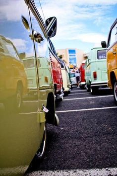 VW bus in a row perspective