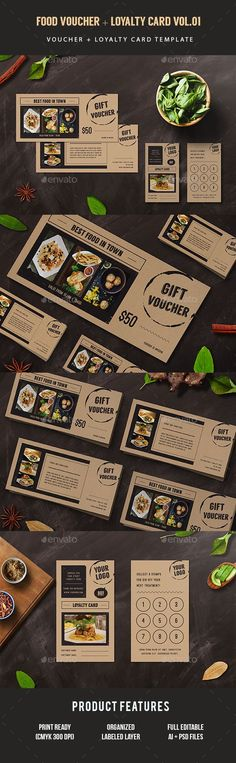 Gift Voucher Loyalty Card  —  PSD Template • Only available here! →… Loyalty Card Design, Loyalty Card Template, Loyalty Cards, Food Vouchers, Gift Vouchers, Gift Voucher Design, Restaurant Vouchers, Ticket Design, Gift Coupons