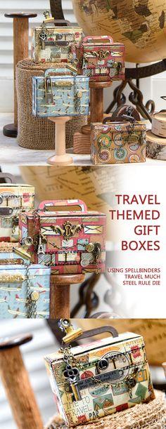 Make these fun travel-themed git boxes using Spellbinders Travel Much steel rule die. To learn more and watch video tutorial, please visit http://www.yanasmakula.com/?p=56580