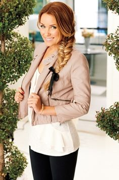 LC Lauren Conrad for Kohl's Spring 2012: White blouse, beige leather moto jacket---- toooo cute!