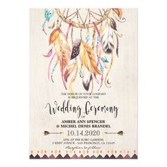 Boho Chic Tribal Dreamcatcher Wedding Invitations. Featuring a watercolor dream catcher with colorful feathers. Great for when you're having a bohemian themed wedding!