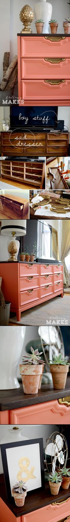 Coral Dresser Makeover, love this transformation!